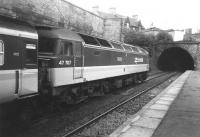 A push-pull set about to restart from Haymarket on the short hop to Waverley in the 1980s, with 47 707 <I>Holyrood</I> in charge. <br><br>[Jim Peebles&nbsp;//]