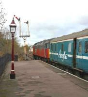 A NENTA railtour stands at Appleby station on 26 October 2003.<br><br>[Ian Dinmore&nbsp;26/10/2003]