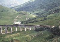 Crossing Glenfinnan Viaduct in the summer of 1991.<br><br>[Ian Dinmore&nbsp;/07/1991]