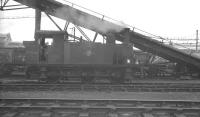 Holden J69 0-6-0T no 68566 stands alongside the conveyor carrying coal up to charge the storage bunkers of the gargantuan coaling plant that served Stratford shed at that time [see image 32083]. The photograph is thought to have been taken in the late 1950s. [Locomotive no 68633 of this class (restored as GER no 87) is preserved at the NRM in York]<br><br>[K A Gray&nbsp;//]