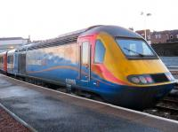 Power car 43066 in East Midlands Trains livery on the rear of an Aberdeen-Leeds HST service pauses at Arbroath on 31 December 2010.<br><br>[Sandy Steele&nbsp;31/12/2010]