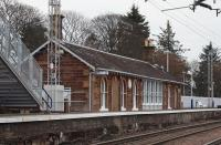 View east from the level crossing at Cardross station on 2 January 2011 following recent refurbishment and alterations, including adjustments to the platform height [see image 12282].<br> <br><br>[John McIntyre&nbsp;02/01/2011]