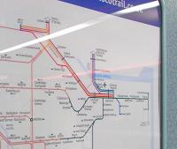 I photographed the previous version of this map [see image 31499] and wondered how ScotRail would cope with A-B reopening.� Here's your answer: they cheated a bit (or performed a workaround, as it's called these days).� A 'dip' has been created at Bathgate which allows all the station names to be fitted in without having to move the Motherwell to Cumbernauld line nearer to Glasgow with all the squashing and redrawing of other lines that would entail.� You can amuse yourselves by looking for other changes.� <br><br>[David Panton&nbsp;04/01/2011]