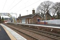View west towards Helensburgh Central at Cardross station on 2 January, showing the newly levelled-off Glasgow bound platform. [See image 4669]<br><br>[John McIntyre&nbsp;02/01/2011]