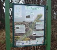 <I>Discover Bute</I> Tramway information board at the start of the trackbed path to Ettrick Bay. It details points of interest on the 1.6 mile route but unfortunately has no information about the old tramway itself.<br><br>[Mark Bartlett&nbsp;28/12/2010]