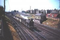 A class J37 0-6-0 passes Craigentinny signal box in the late 1950s heading south with a train of empties.<br><br>[A Snapper (Courtesy Bruce McCartney)&nbsp;//]