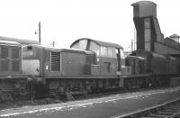 Clayton no D8554, which doesn't look to be long for this world, stands in the yard at Polmadie on 14 February 1970. Note the two tenders in the background, probably of type BR1B or BR1C, formerly fitted to BR Standard Class 5s.<br><br>[Bill Jamieson&nbsp;14/02/1970]
