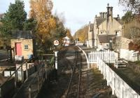 A definite <I>end of season</I> atmosphere at Alston on Monday 1 November 2010. View back along the platform towards the level crossing from the footpath above the buffer stops.<br><br>[John Furnevel&nbsp;01/11/2010]