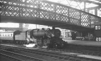Ivatt 4F 2-6-0 no 43027 arrives at Carlisle platform 4 on 15 May 1964 with the 6.22pm train from Langholm.<br><br>[K A Gray&nbsp;15/05/1964]