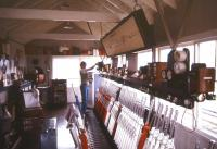 <I>'Errr... so tell me Ian, how are you at making tea?'</I> Everything back to normal as professional signalman David Vinsen regains control of Abergavenny box in March 1985. [See image 32284].<br> <br><br>[Ian Dinmore&nbsp;/03/1985]