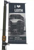 Among the banners adorning lampposts down Leith walk on 3 January 2011 is this one depicting a Pickering Standard tramcar on route 17, coming up from the 'Fit o' The Walk' in the mid 1950s.� The destination is Newington Station where the tram would terminate in the middle of a road which wouldn't have been quiet even then.� The plan is that trams will one day run again down Leith Walk, but who knows when?� This is a bit of a sore point in Edinburgh.� <br><br>[David Panton&nbsp;03/01/2011]