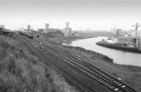 Looking towards the extensive Wearmouth Colliery, standing alongside the River Wear, approximately 2 years before official closure in 1993.�The abandoned site was later cleared to make way for the 50,000 seat 'Stadium of Light', the current home of Sunderland FC, opened in 1997. [See image 36341] Wearmouth Coal Company<br><br>[Bill Roberton&nbsp;//1991]