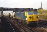 In my experience class 50s were quite rare in Edinburgh�but I did note the 12.15 cement empties from Viewpark Sidings�(Uddingston) to Holborough (Kent) so hauled as far as Millerhill Yard on a couple of occasions in the autumn of 1970. This is no 414 passing Niddrie West Junction with the train on Tuesday 13th October 1970.<br> <br><br>[Bill Jamieson&nbsp;13/10/1970]