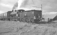McIntosh 3F 0-6-0 no 57581 with the SLS <I>Glasgow South Rail Tour</I> at Airdrie (Caledonian) on 9 June 1962. From here the special returned to Glasgow Central. <br><br>[K A Gray&nbsp;09/06/1962]
