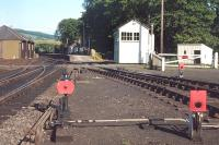 Ground signals controlling the coal sidings and crossover at Pitlochry in 1972.<br> <br><br>[Bill Roberton&nbsp;//1972]
