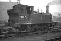 J88 0-6-0ST no 68335 takes a break from shunting Gorgie East yard in 1961. In the right background wooden containers can be seen standing alongside the yard crane.<br><br>[Frank Spaven Collection (Courtesy David Spaven)&nbsp;//1961]