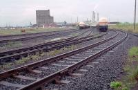 Part of Leith South Yard (lines 19 to 23) with ICI tanks in 1988. At this time the old part of the yard to the right and the former Caledonian yard site, further right, had not been redeveloped. View towards Leith docks.<br><br>[Ewan Crawford&nbsp;//1988]