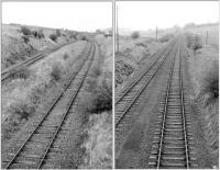Views north (left) and south from the Howwood - Lochwinnoch road overbridge at the site of the proposed (but never built) G&SW station between Kilbarchan and Lochwinnoch. The photographs were taken in 1974 at which point all services had been discontinued over the route and the track was awaiting lifting. While generally referred to as Castle Semple, had a station opened here it is likely to have been named Howwood (West) or St Bryde's. [See image 32535]   <br> <br><br>[Colin Miller&nbsp;//1974]