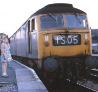 Brush Type 4 no D1928 stands at Newton Abbot on 30 July 1969 ready to depart with the 2050 hrs Motorail service to Edinburgh.<br> <br><br>[John McIntyre&nbsp;30/07/1969]