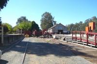 The original terminus at Echuca, Victoria, a location in the news in early 2011 due to flooding, seen here in October 2010. The old station is now preserved and bypassed by a through line. The goods shed was for trans-shipment with Murray River paddle steamers via the wharf to the right. [Echuca - Aboriginal for 'meeting of the waters'.]<br> <br><br>[Colin Miller&nbsp;10/10/2010]