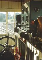Interior of Pitlochry Signalbox in 1972, with the level crossing (for the coal yard) gate wheel at the far end of the frame.<br> <br><br>[Bill Roberton&nbsp;//1972]