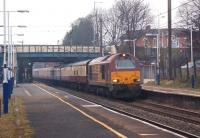 67008 heads south through Leyland with the 1Z61 Preston - London <br> Kings Cross UK Railtours charter on 22 January 2011 in less than ideal lighting with more than a hint of fog in the area.<br> <br><br>[John McIntyre&nbsp;22/01/2011]