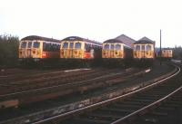 Lineup of Bury electrics at Bury depot on 3 October 1990.<br><br>[Ian Dinmore&nbsp;03/10/1990]