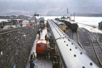 The multi-purpose railway at Kyle of Lochalsh in the late 1960s - passengers, parcels, mail, freight, and direct interchange with MacBraynes buses - plus of course the Skye ferry.<br><br>[Frank Spaven Collection (Courtesy David Spaven)&nbsp;//]