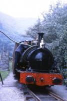 Talyllyn locomotive No. 3 <I>Sir Haydn</I> takes water at Dolgoch station. This locomotive, and sister engine No.4, had originally worked on the Corris Railway but were bought by the Talyllyn to supplement the two original locos on the line. <br><br>[David Hindle&nbsp;//1969]