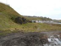 Site of the throat of the former yard at Banff looking west in January 2011. <br><br>[John Williamson&nbsp;22/01/2011]