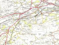 Lines to the west of Falkirk on the OS One Inch map of 1957.� All of <br> the 'solid' rail lines are still there, apart from the short branch to the former Bonnybridge Caledonian terminus [see image 6665], though of the four stations shown only Cumbernauld survives.� Cumbernauld had not yet been developed and remained a village at a fork in the road with a station some distance off - so far away in fact that a separate community was building up around it.� Crown copyright 1957.<br> <br><br>[David Panton&nbsp;//1957]