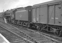 Britannia Pacific no 70011 <I>Hotspur</I>, a resident of 31B March, runs south through Doncaster with a freight in April 1963.<br><br>[K A Gray&nbsp;11/04/1963]