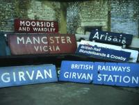 Fine array of old railway signs for sale in 1982 at Collectors' Corner near Euston station.<br><br>[David Spaven&nbsp;//1982]