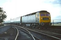 Smart looking class 47 no 1108 with white� embellishments to the buffers and wheel rims (possibly from previous Royal Train duty), comes off the north end of the� Royal Border Bridge in September 1970 before running through Berwick station at the head of the 08.40 Leeds - Edinburgh express. <br><br>[Bill Jamieson&nbsp;12/09/1970]