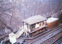 View over New Mills Central signal box in March 1986.<br><br>[Ian Dinmore&nbsp;/03/1986]
