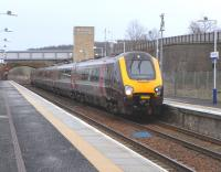 Heralded by an announcement including exotic locations like Tiverton <br> Parkway and St Erth the daily Aberdeen to Penzance Cross Country service calls at Markinch on 29 January.� It is less than 2 hours into its 13 hour 22 minute journey, Britain's longest scheduled service - in distance and surely also duration.� On the wall on the right you can see traces of a large sign which said 'Markinch for Glenrothes' but after 'Glenrothes with Thornton' station opened in 1992 the 'for Glenrothes' was scratched out and the sign later removed.� This is despite the fact that Markinch station is nearer both the periphery and the centre of Glenrothes. <br> <br><br>[David Panton&nbsp;29/01/2011]