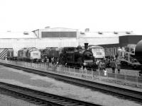 The south side of Eastfield MPD on 16 September 1972 during the Railfair and open day. The photo was taken from the Metro Cam <br> DMU that operated a shuttle service from Queen Street station up to a temporary platform adjacent to the depot.<br> <br><br>[John McIntyre&nbsp;16/09/1972]
