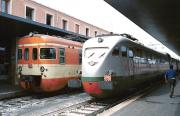 Contrasting emu front ends at Venice Santa Lucia station in 1983.<br> <br><br>[Bill Roberton&nbsp;//1983]