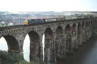 Deltic no 9019 <I>Royal Highland Fusilier</I> slowly crossing the Royal Border Bridge approaching the Berwick�stop with train 1S30 the 08.30 Newcastle - Edinburgh on�12th September 1970.<br> <br><br>[Bill Jamieson&nbsp;12/09/1970]