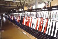 Inside the UK's biggest mechanical signal box, Shrewsbury's 180 lever Severn Bridge Junction, in October 1989. Spencer Street no 1 in Melbourne, with 192 levers, is the world's only larger such installation. <br><br>[Ian Dinmore&nbsp;26/10/1989]