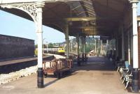 Platform view looking east at Forres station in  1979.<br><br>[Ian Dinmore&nbsp;//1979]