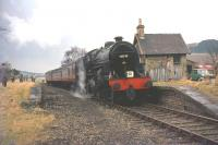 42737 with the SLS <I>Scottish Rambler No 3</I> railtour at Broughton on 29 March 1964. Following this stop the special returned along the branch to Symington [See image 22588]<br><br>[Andy Carr Collection&nbsp;29/03/1964]