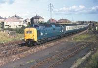 Deltic No. 9017 <I>The Durham Light Infantry</I> slows for the reverse curves through Berwick with the up <I>Flying Scotsman</I> on Saturday 12 September 1970.<br> <br><br>[Bill Jamieson&nbsp;12/09/1970]
