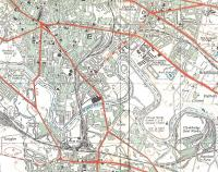 The Clyde meanders through south-east Glasgow in this OS 1:25,000 <br> Provisional Edition map of 1947.� The two� Bridgeton stations almost <br> face each other at the top left and Rutherglen East Junction can be <br> seen bottom right, below Clydebridge Steel Works.� The castle north-east of the then expansive Rutherglen station was Farme Castle, unforgivably demolished in the 1960s.� Crown Copyright 1947.<br> <br><br>[David Panton&nbsp;//]