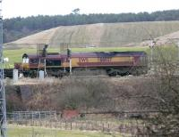 DBS 66037 climbs to Cobbinshaw with 6E28 Dalzell - Tees Yard steel empties at 14.27 on 5 February.<br><br>[Ken Browne&nbsp;05/02/2011]