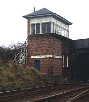 Newhailes Junction signal box on 22 November 1970, still displaying its former name. The box stood near the point where the Musselburgh branch left the ECML. This area, including the station, had been renamed Newhailes from September 1938. Newhailes station was closed by BR in February 1950. <br><br>[Bill Jamieson&nbsp;22/11/1970]