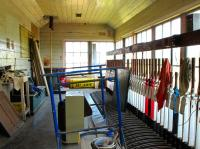 Inside Wroxham signal box in May 2010. The box was in the process of being restored as a signalling museum alongside the Bure Valley Railway.<br><br>[Ian Dinmore&nbsp;/05/2010]