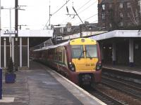 A Helensburgh - Waverley service makes its penultimate stop at Haymarket on 8 February.<br><br>[Brian Forbes&nbsp;08/02/2011]