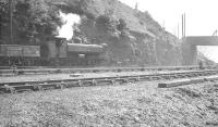 Former GWR pannier tank at work in the summer of 1960 just to the north of Aberbeeg shed.<br><br>[K A Gray&nbsp;12/08/1960]