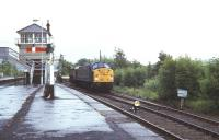 A class 40 involved in shunting activity at Haltwhistle in 1973. View east from the Alston branch platform. <br><br>[Ian Dinmore&nbsp;//1973]